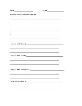 Student Reflection, Goal and Interest Survey