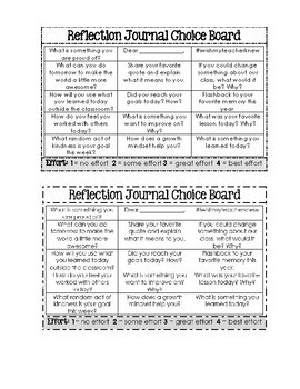 Student Reflection Journal Choice Board