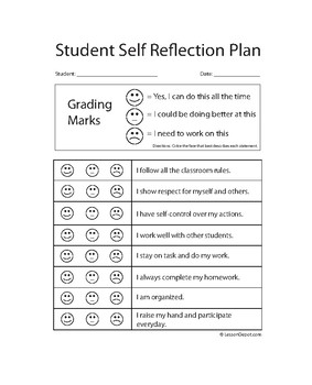 Student Reflection Lesson Plan Template