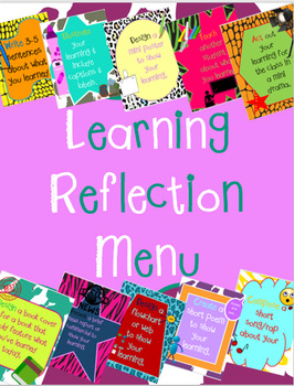 Student Reflection Menu Posters & Spinners