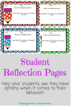 Student Behavior Reflection Page   Classroom Management