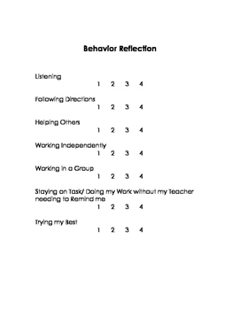 Student Reflection  - Parent/Teacher Conference Forms