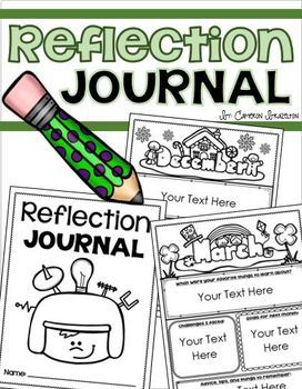 Student Reflection Self Evaluation Journal Monthly Editable