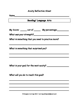 Student Reflection Sheet for Acuity
