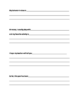 Student Reflection Sheet for Parent Teacher Conferences