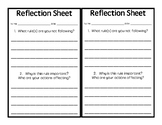Student Reflection Sheet (for behavior)