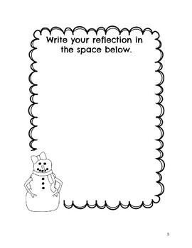 Student Reflection Sheets Winter Theme