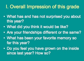 Student Reflection on School Year (PowerPoint)