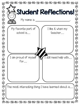 Student Reflections Page: Great for Report Card time!