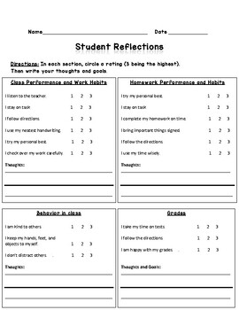 Student Reflections sheet