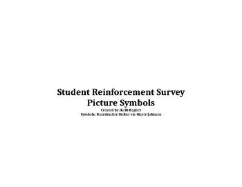 Student Reinforcement Survey/Inventory - Picture Symbols