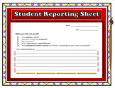 Student Reporting Sheet