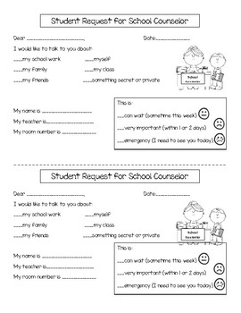 Student Request for School Counselor Form