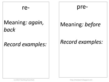 Student Resource book for Prefixes