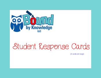 Student Response Cards - 9/page