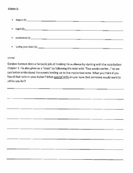 Student Response Journal and Discussion Points for Swindle