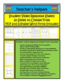 Student Response Sheet Pack Video/Media/Books Etc 10 Diffe