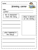 Student Response Sheet for Listening Center