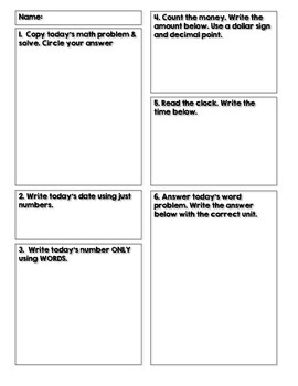 Student Response Sheet for Math Practice