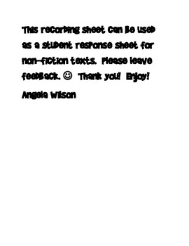 Student Response Sheet for Non-Fiction Texts--3, 2, 1