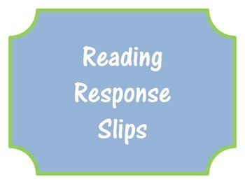 Student Response Sheets (Independent Reading)