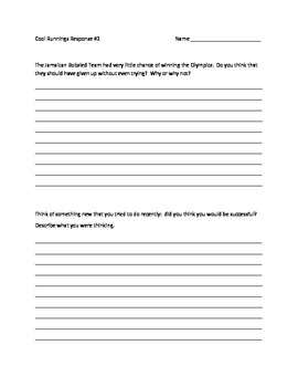 "Student Response Worksheet for ""Cool Runnings"" Movie"