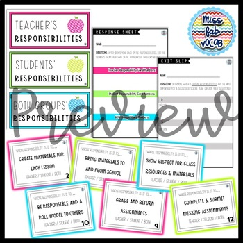 Student Responsibilities Task Cards