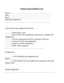 Student Responsibility Card