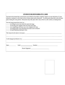 Student Responsibility Card 2 (CMC)