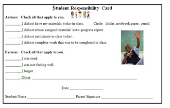Student Responsibility Card (CMC)