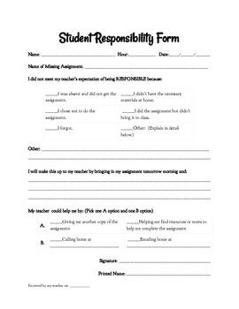 Student Responsibility Form