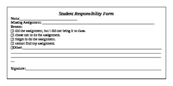 Student Responsibility Form (Harry Wong Inspired) Classroom Managment