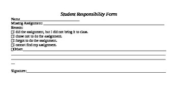 Student Responsibility Form (Harry Wong Inspired) Classroo
