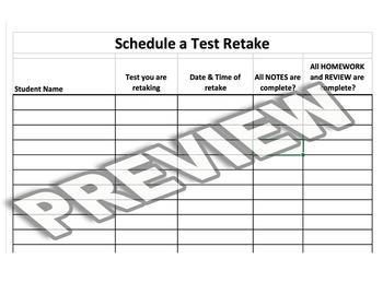 Student Retake Sign Up Sheet