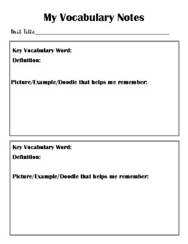 Student Review Documents for Math and Science