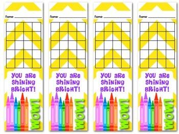 Student Reward Bookmarks for Positive Behavior and Academic Success