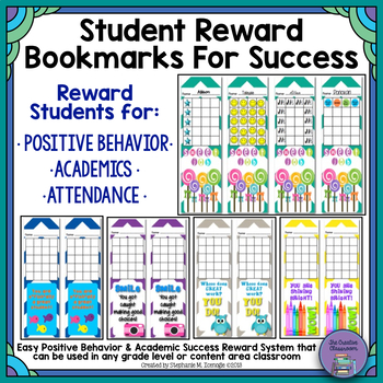 Student Reward Bookmarks for Positive Behavior and Academi
