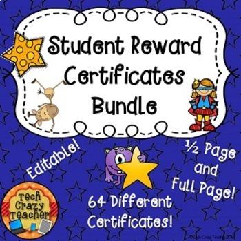 Student Reward Certificates Bundle (Editable)