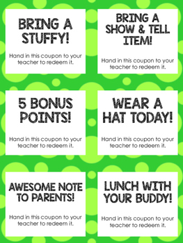 Student Reward Coupons, Treasure Box