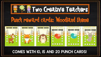 Student Reward Punch card: Woodland theme