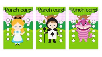 Student Reward Punch card: Alice theme