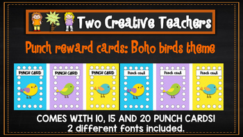 Student Reward Punch card: Boho birds theme