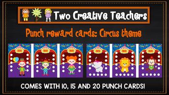 Student Reward Punch card: Circus theme