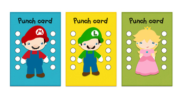 Student Reward Punch card: Mario inspired