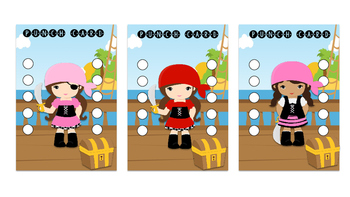 Student Reward Punch card: Pirate theme