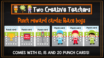 Student Reward Punch card: Racing boys