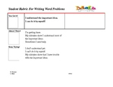 Student Rubric For Writing Word Problems