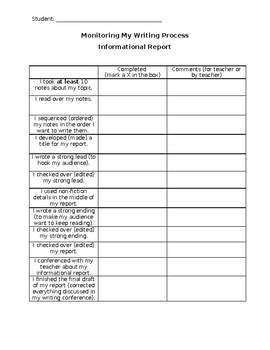 Student Rubric- Informational Reports