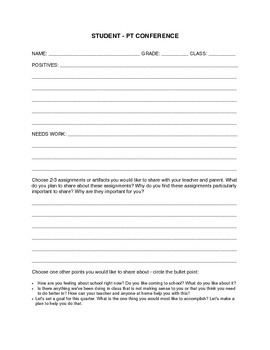 Student-Run Parent Teacher Conference Form