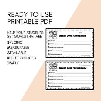 Student SMART Goals in the Library - Planning and setting goals in library